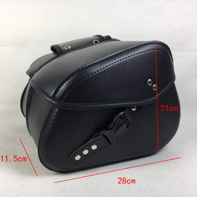 2PCS Left Right Universal PU Leather Motorcycle Saddlebag Side Tool Luggage Bags Saddle Bags Storage Tool Pouch
