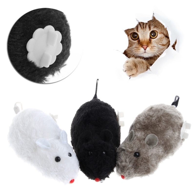 New Clockwork Wind Funny Running Mouse Rat Move Tail Cat Kitten Prank Toy Gift Dex1 #330