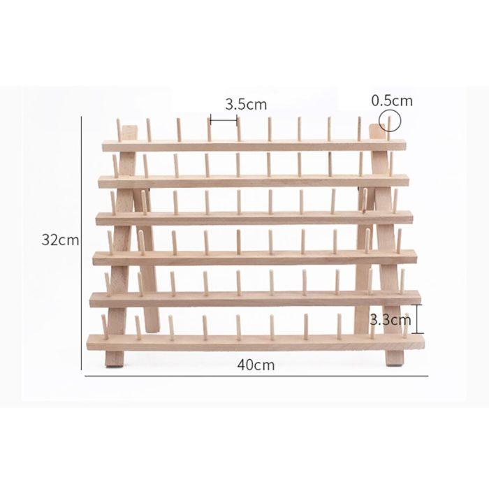 Foldable 60-Slot Wooden Thread Holder