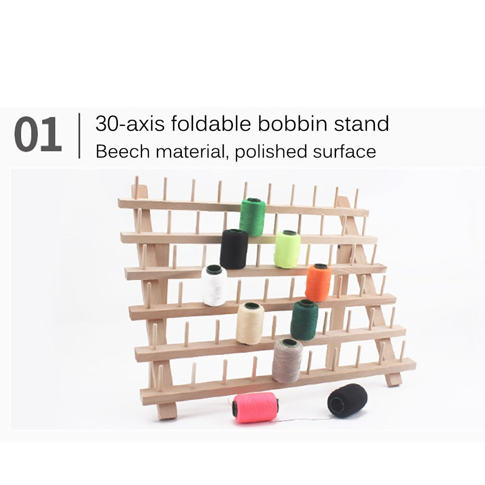 Sewing Embroidery Thread Rack Solid Wood Folding Storage Suitable Large Spools Household Roll 60 Axes Sewing Thread Holder