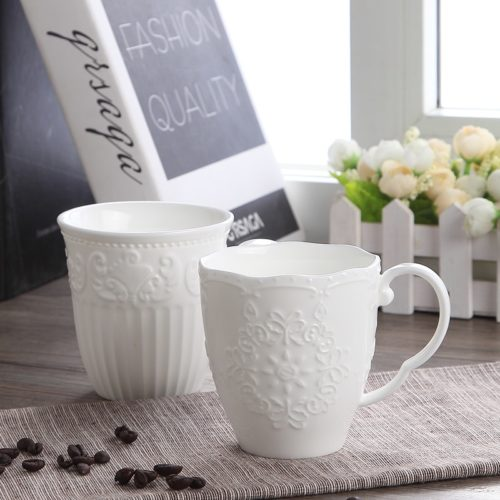 Embossed White Porcelain Mug