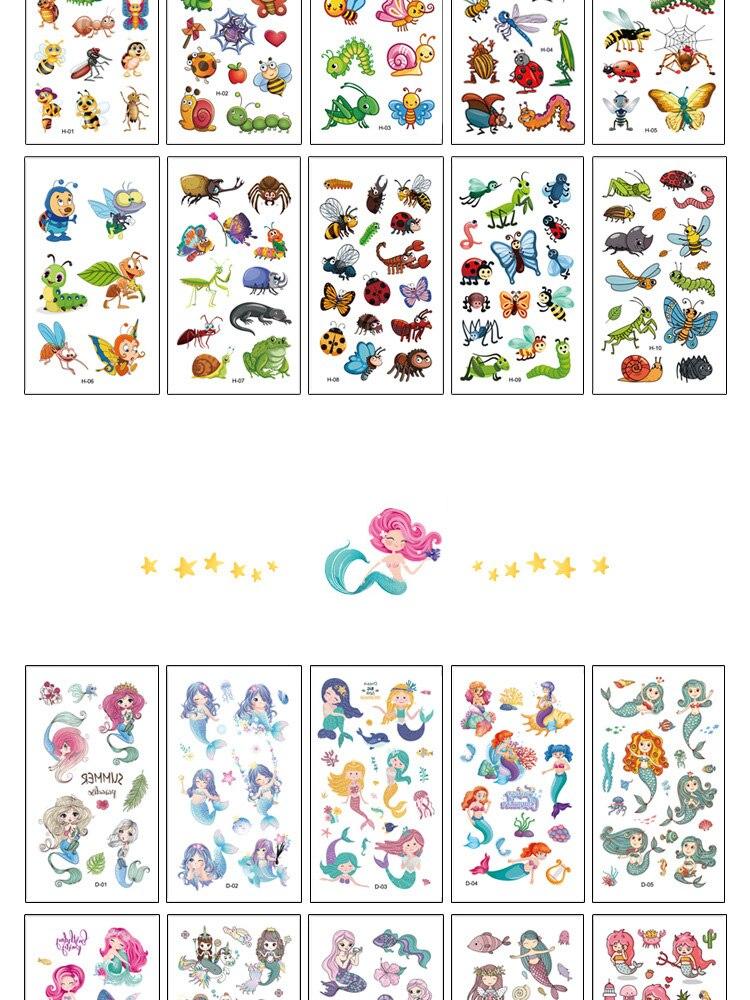 10 Sheet/Set Kids Tattoo Cartoon Rainbow Unicorn Fake Tattoo Sticker Temporary Tattoos Waterproof Art Tatoo Hand Arm for Child