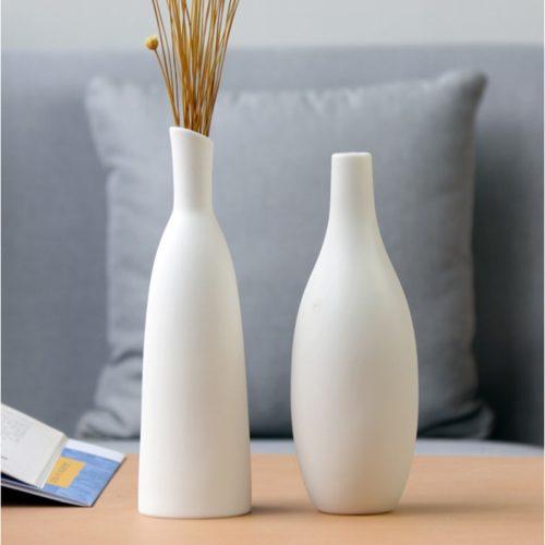 White Ceramic Vase for Flowers