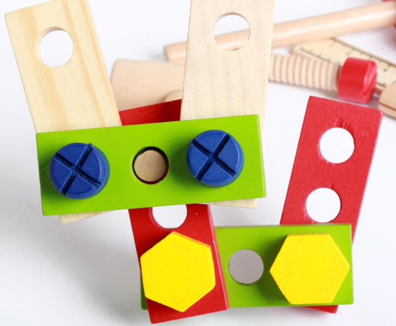 Children Real Life Wooden Maintain Tools Boy's Pretend Toy Kids Wooden Tools Box Set Screws Assemble 3D Puzzle Educational Toy