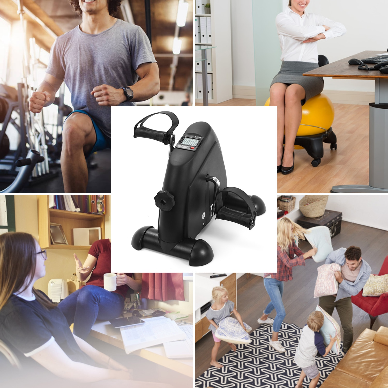 Mini Pedal Stepper Exercise Machine LCD Display Indoor Cycling Bike Stepper with Adjustable Resistance For Home Office Gym