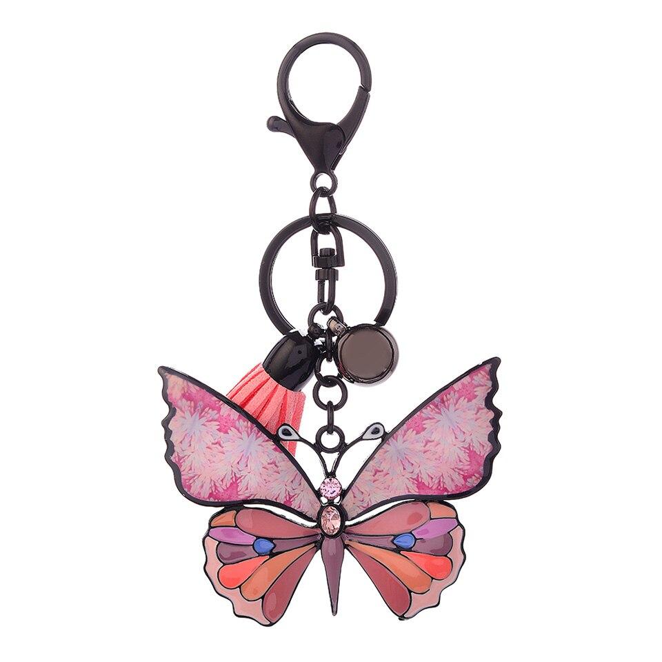 Enamel Butterfly Key Chain Leather Tassel Key Ring With Rhinestones For Women Bag Pendant Cute Keychain Fashion Jewelry Gifts