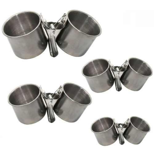Clip-On Stainless Bird Cage Feeder Cups