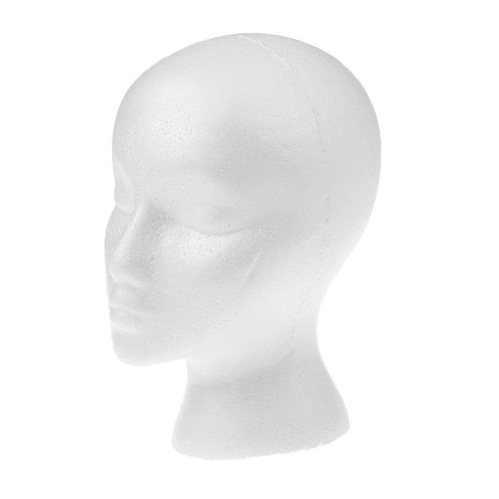 Female White Deflection Head Polystyrene Styrofoam Foam Head Model Stand Wig Hair Hat Headset Mannequin Head Display Stand Rack