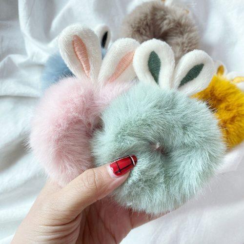 Bunny Ear Scrunchie Fluffy Hair Tie