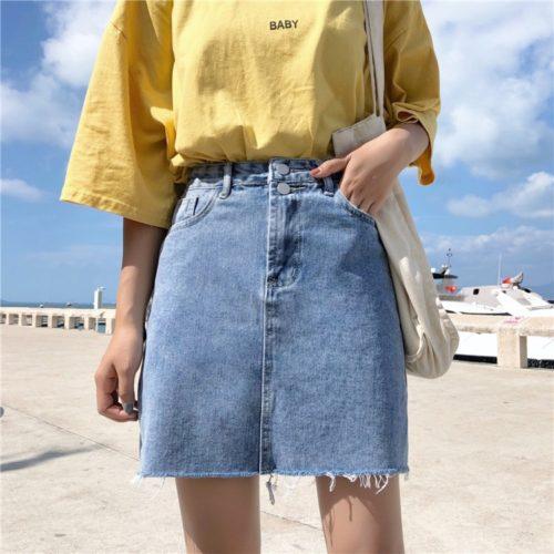 High Waist Denim Skirt for Women