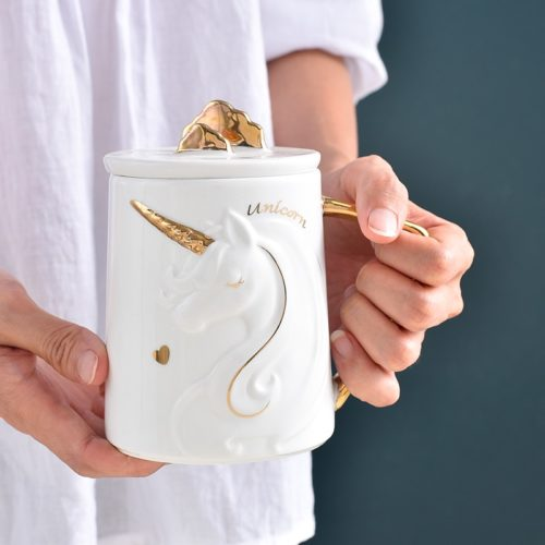 Unicorn Mug Ceramic Cup with Lid