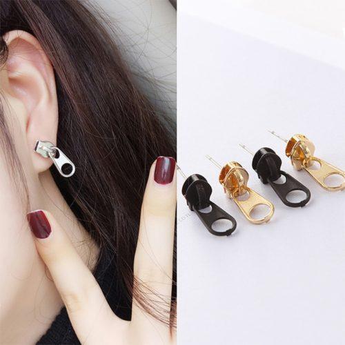 Fashionable Metal Alloy Zipper Earrings