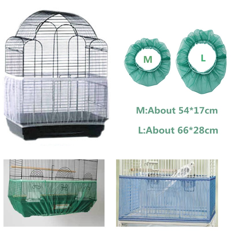 Nylon Mesh Bird Cage Cover Shell Skirt Net Easy Cleaning Seed Catcher Guard Bird Cage Accessories Airy Mesh Parrot Bird Cage Net