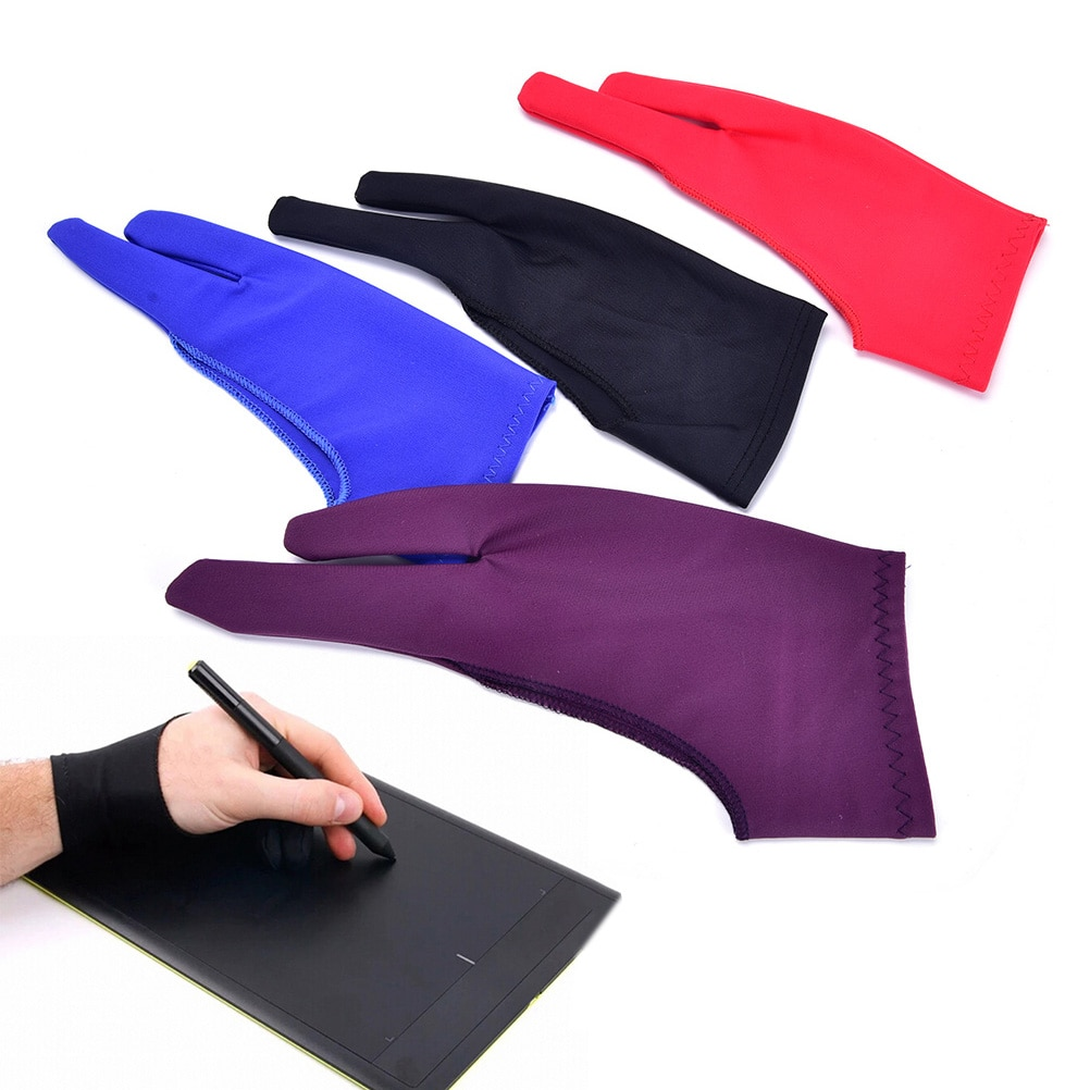 1PCS Two-finger Drawing Gloves Suitable For Both Right And Left Hand Anti-fouling Gloves For Any Graphics Drawing Tablet