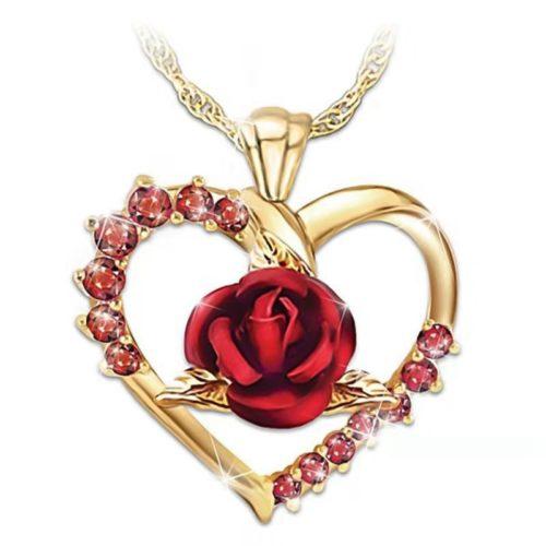 Rose Pendant Necklace Ladies Jewelry