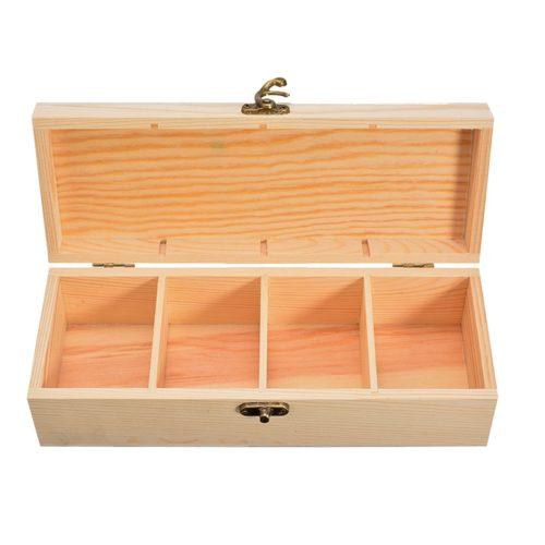 Four-Slot Wooden Tea Compartment Box