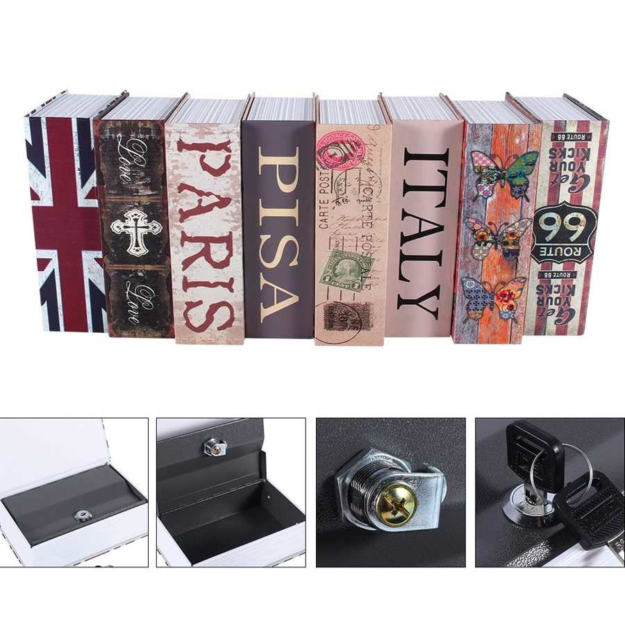 Secret Hidden Safe Security Box of Dictionary Book Shape Key Box For Money Cash Jewelry Safe Deposit Box Mini Lock Box for home