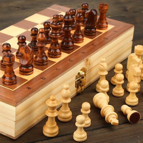 Folding Chess Set Wooden Magnetic Board