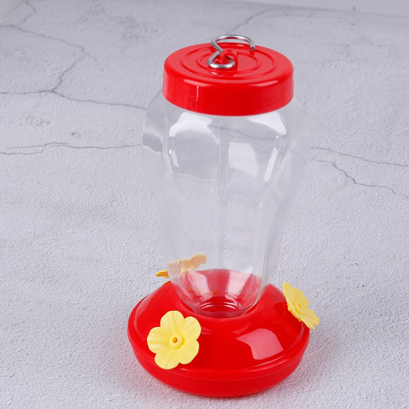 1pcs Plastics Bird Water Feeder Bottle Hanging Hummingbird Feeder Garden Outdoor Plastic Flower Iron Hook Bird Feeder