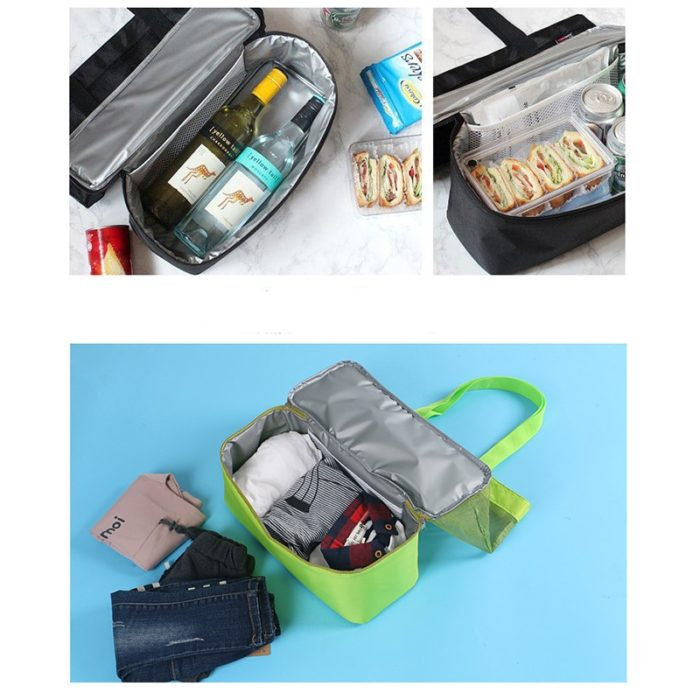 Beach Net Bag with Insulated Bottom Storage