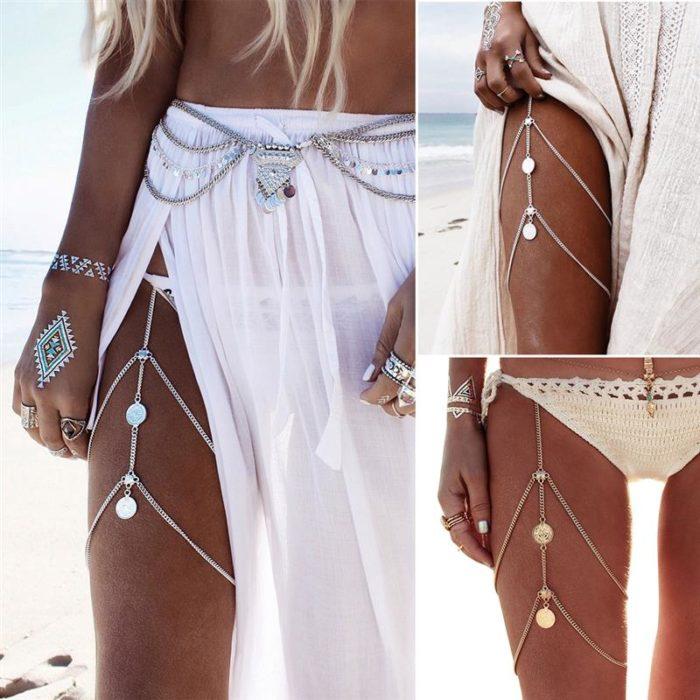 Two-Layer Metal Thigh Chain Jewelry