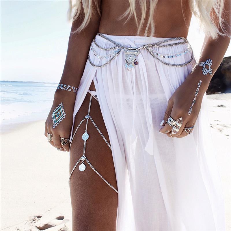 2020 New Fashion Women Leg Chains Boho Anklet Body Jewelry Gold Color Anklets For Women Leg Chains New Body Jewelry