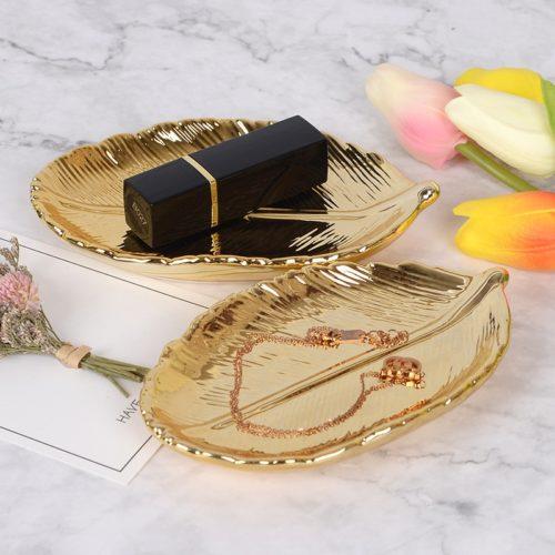 Nordic Ceramic Gold Leaf Tray