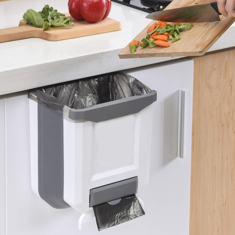 Folding Kitchen Trash Can Kitchen Folding Waste Bin Kitchen Garbage Cans Recycle Rubbish Bin for Kitchen Dustbin Garbage Bin