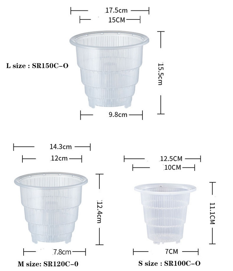 Meshpot 4 5 6 Inches Plastic Clear Orchid Pot With Holes Flower Pot Orchid Planter Transparent Wall Good Drainage and Air Holes