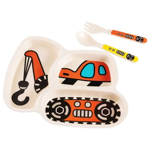 Childrens Plate Set Cartoon Car Design