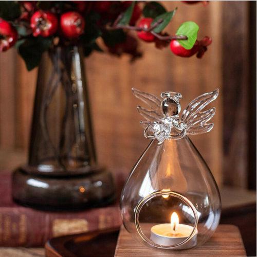 Angel Tea Light Holder Glass Candle Stand