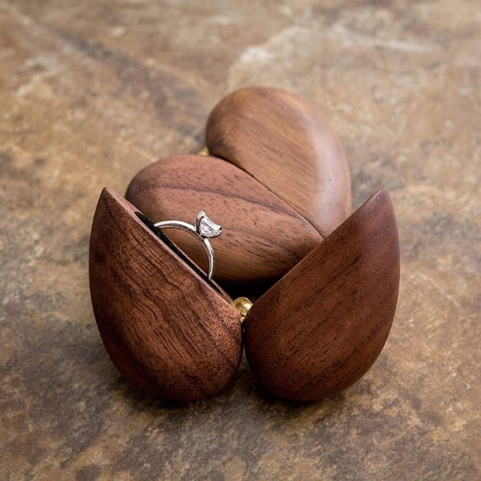 Heart-Shaped Wooden Engagement Ring Box