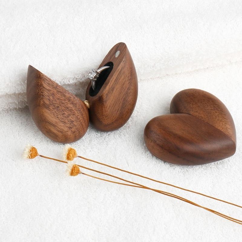 Heart Shaped Walnut Wood Ring Box Velvet Soft Interior Holder Organizer Jewelry Wooden Box Case for Proposal Engagement