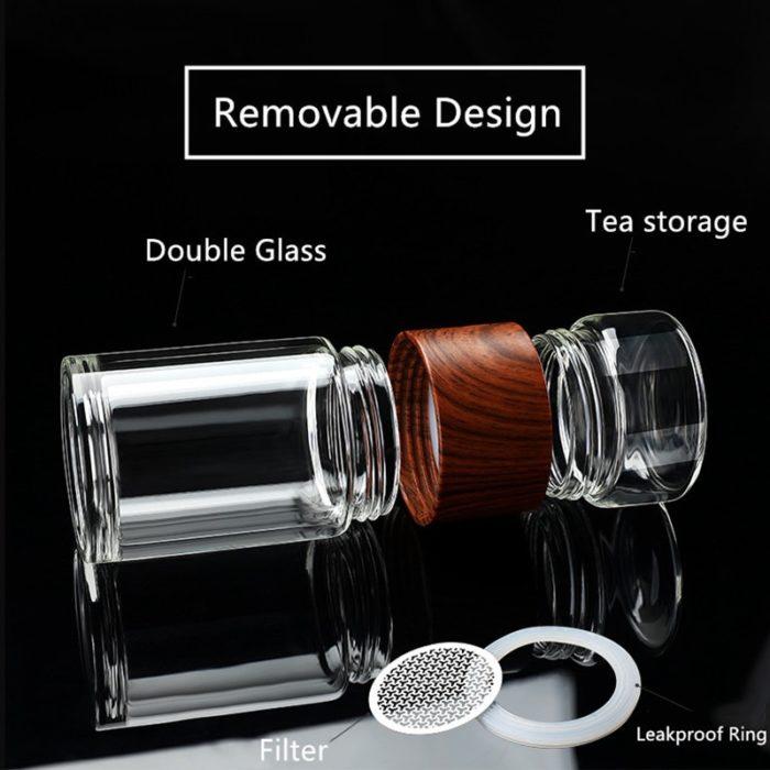 Tea Glass Tumbler Infuser Bottle