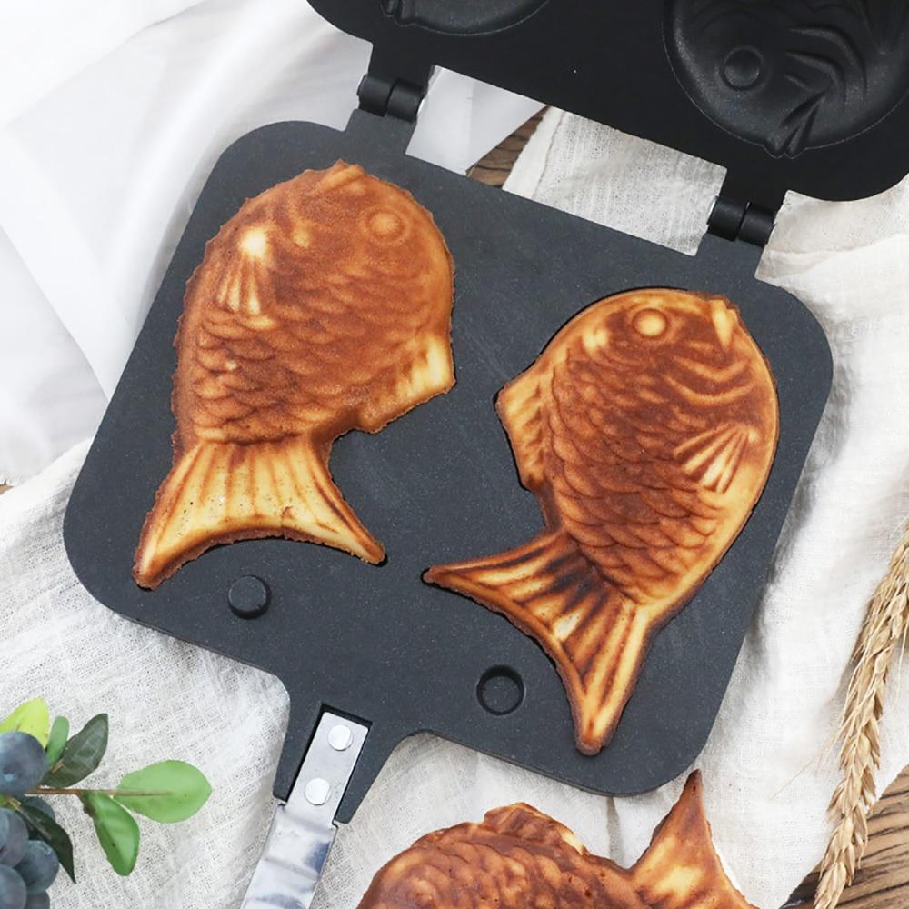 Taiyaki Japanese Fish-Shaped Bakeware Waffle Pan Maker Japanese Pancake Double Pan Stainless Steel Frypan Home Cake Tools