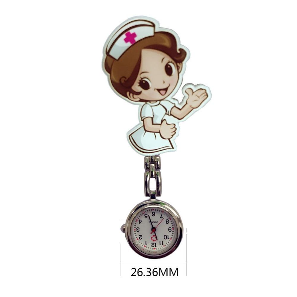 Lovely Super Cute Cartoon Girl Pattern Light Luminous Needle Quartz Movement Nurse Pattern Pocket Watch Good Gift