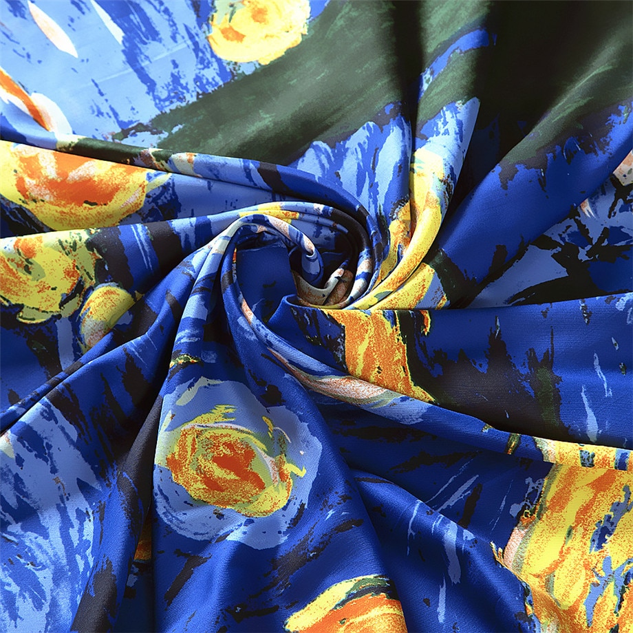 130cm Van Gogh's Oil Painting《The Starry Night》2021 Brand Scarf Twill Silk Square Scarf Women Kerchief Shawl Scarves For Ladies