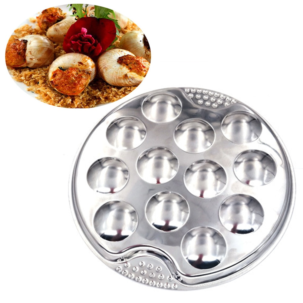 Snail Plate Lightweight Easy Clean Server Restaurant Dish Hotel Heat Resistant Mushroom Escargot 12 Holes Dinner Stainless Steel