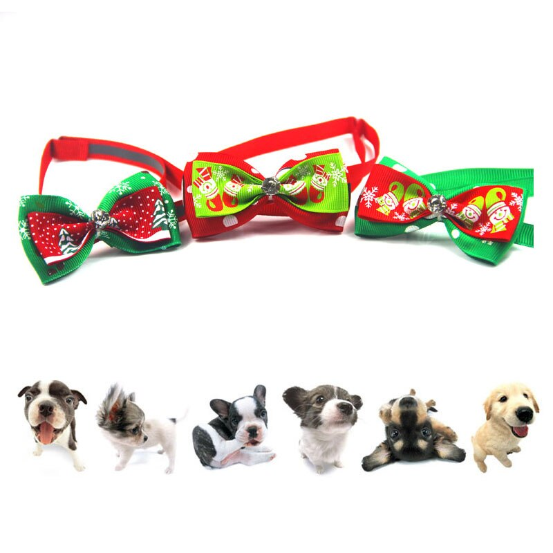 Christmas Holiday Pet Cat Dog Collar Bow Tie Adjustable Neck Strap Cat Dog Grooming Accessories Pet Product Supplies Christmas