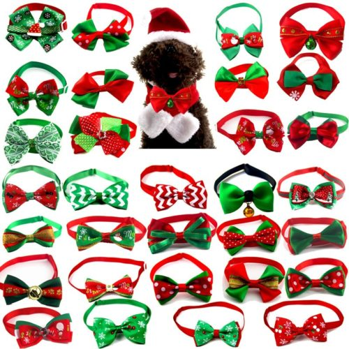 Dog Christmas Bowtie Adjustable Strap