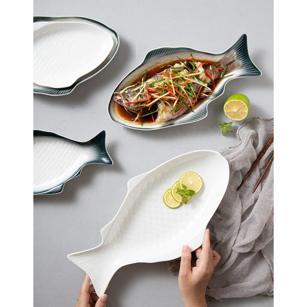 1pc Plate Fish Shaped Ceramic Tableware Snack Storage Fish Pan for Restaurants Party Gatherings