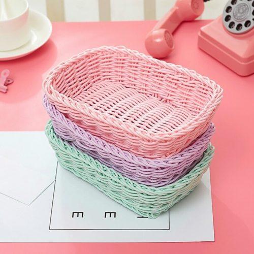 Plastic Woven Basket Home Storage