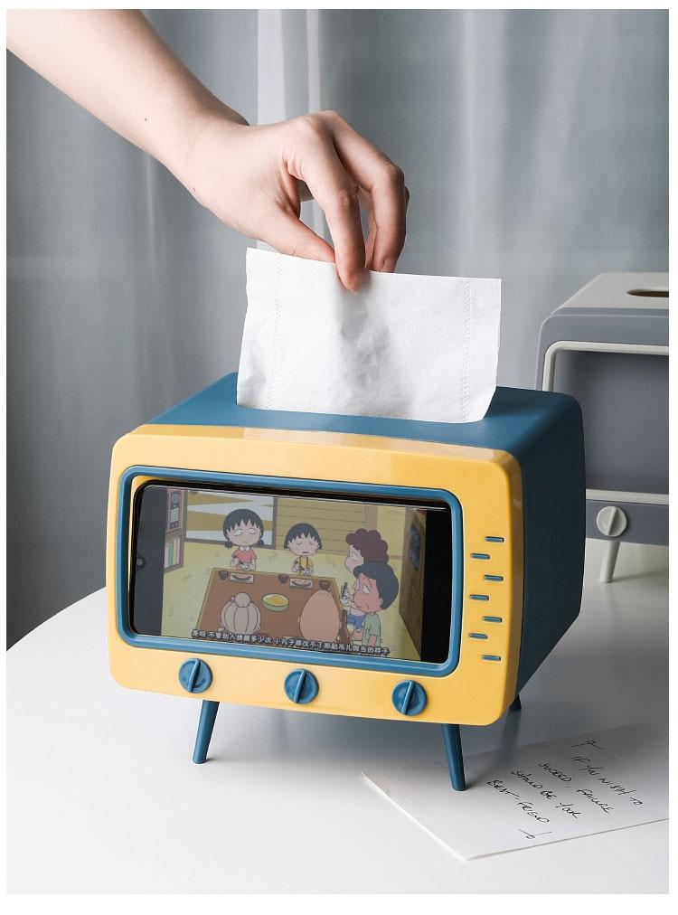 Creative 2 In 1 TV Tissue Box Desktop Paper Holder Dispenser Storage Napkin Case Organizer with Mobile Phone Holder