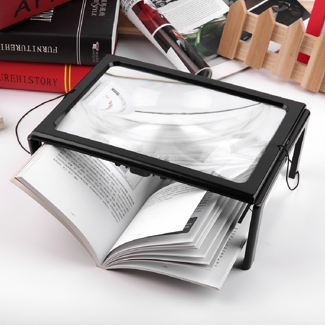 3X Foldable Magnifying Glass Loupe for Reading with 4 LED Lights Ultrathin A4 Full Page Large PVC Magnifier Hands Free