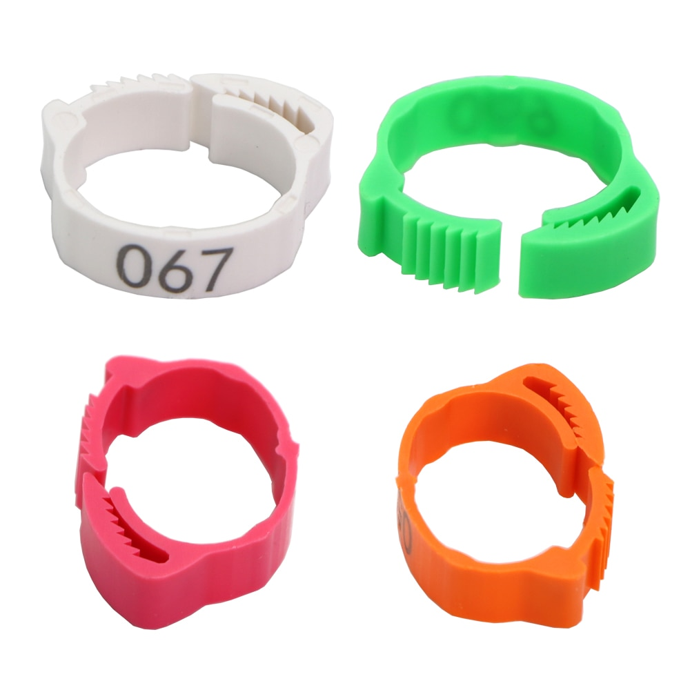 30PCS Chicken Foot Ring Adjustable Size Poultry Leg Digital Label Buckle Ring 6 Colors Plastic Chick Duck Goose Farm Equipment