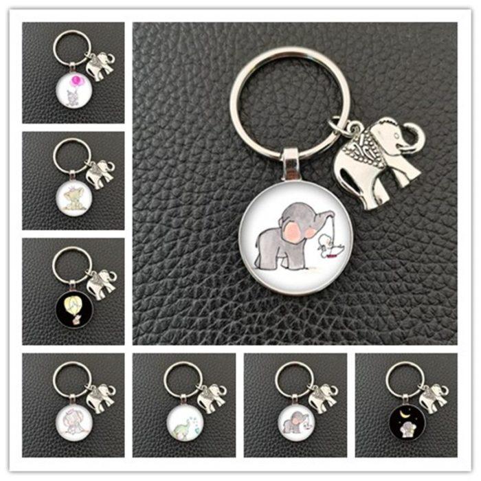 Glass Pendant Elephant Keyring