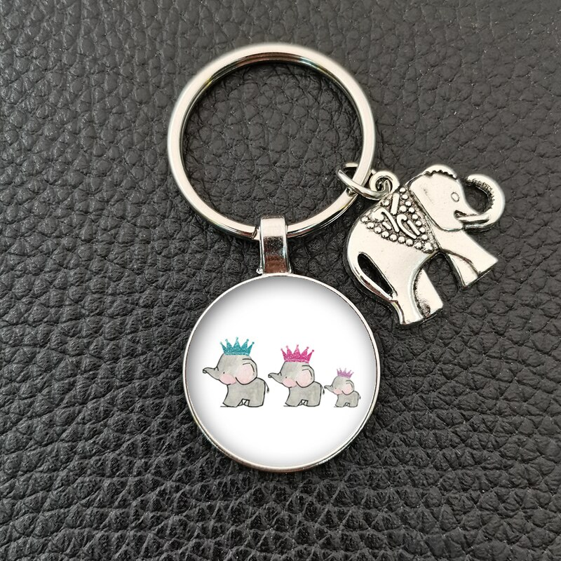Hot sale round glass convex round elephant and baby elephant pattern glass handmade keychain, car keychain, boutique accessories