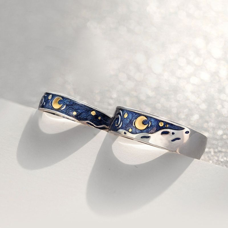 S925 Van Gogh Starry Sky Open Lover Rings Band Romantic Couple Jewelry Ring