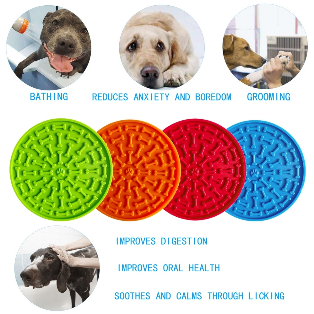 Silicone Pet Dog Feeding Mat Dogs Lick Pad Feeder Food Licking Slow Treat Dispensing Puppy Puzzle Toys Mat for Training Bathing