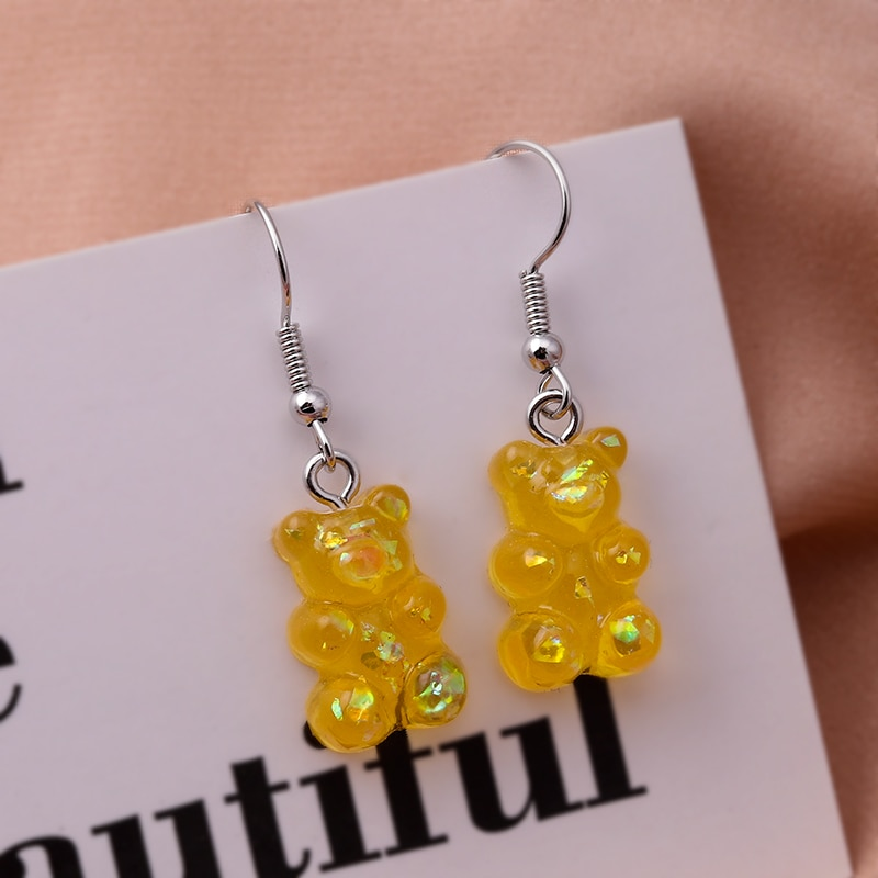 New Fashion Sequins Resin Gummy Bear Dangle Earrings for Women Girl DIY Cartoon Animal Bear Earrings Creative Drop Jewelry Gifts